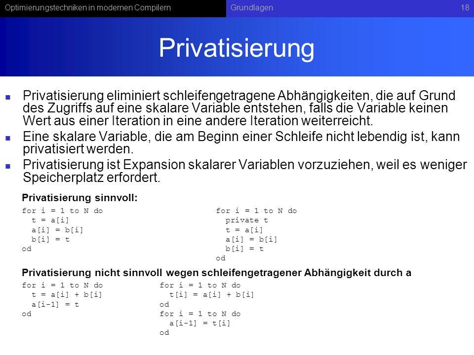 Optimierungstechniken in modernen CompilernGrundlagen18 Privatisierung Privatisierung eliminiert schleifengetragene Abhängigkeiten, die auf Grund des Zugriffs auf eine skalare Variable entstehen, falls die Variable keinen Wert aus einer Iteration in eine andere Iteration weiterreicht.