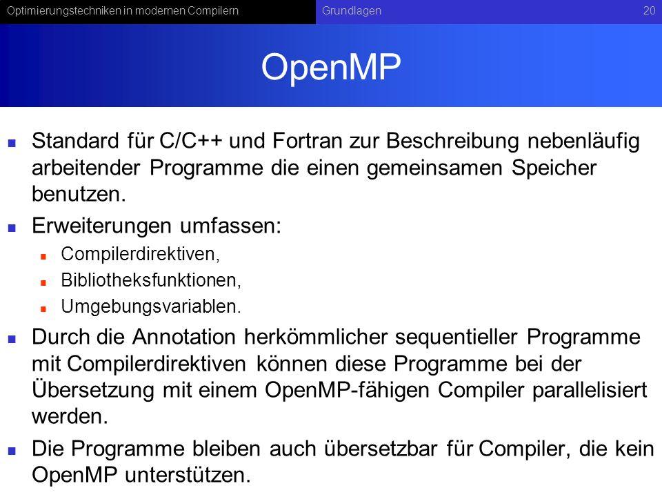 Optimierungstechniken in modernen CompilernGrundlagen20 OpenMP Standard für C/C++ und Fortran zur Beschreibung nebenläufig arbeitender Programme die einen gemeinsamen Speicher benutzen.