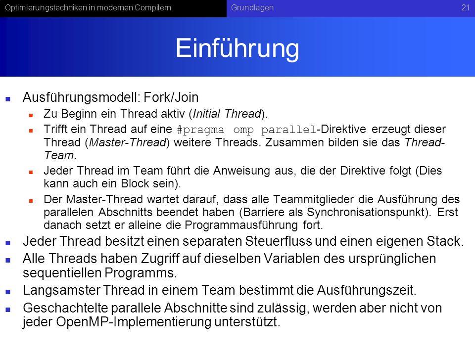 Optimierungstechniken in modernen CompilernGrundlagen21 Einführung Ausführungsmodell: Fork/Join Zu Beginn ein Thread aktiv (Initial Thread).