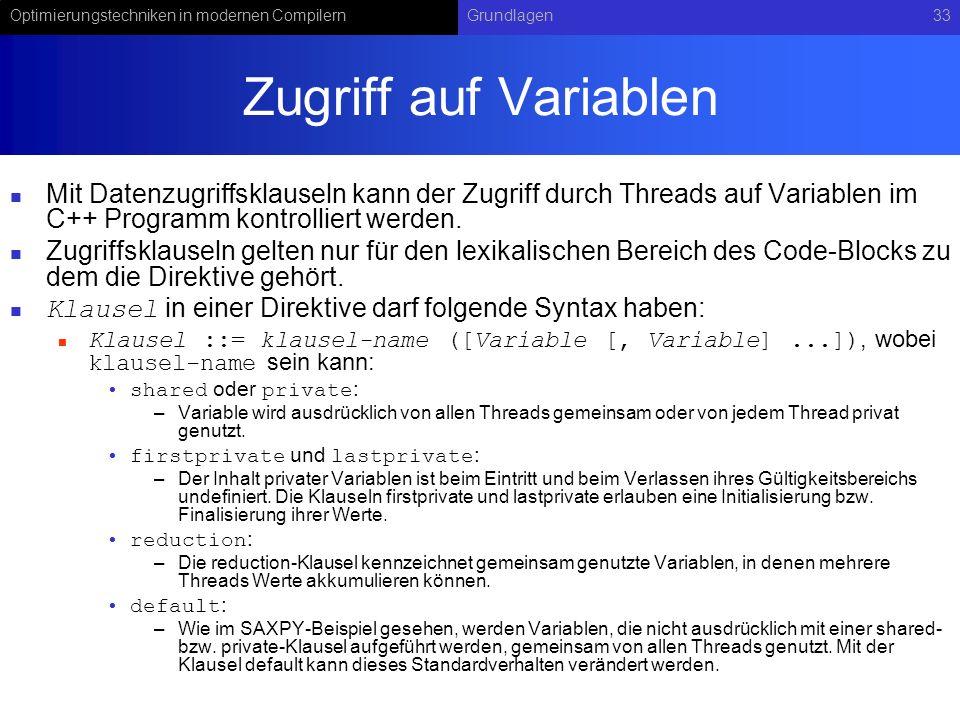 Optimierungstechniken in modernen CompilernGrundlagen33 Zugriff auf Variablen Mit Datenzugriffsklauseln kann der Zugriff durch Threads auf Variablen im C++ Programm kontrolliert werden.