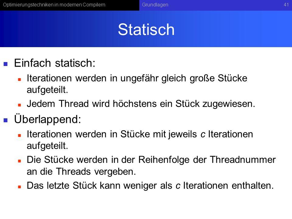 Optimierungstechniken in modernen CompilernGrundlagen41 Statisch Einfach statisch: Iterationen werden in ungefähr gleich große Stücke aufgeteilt.