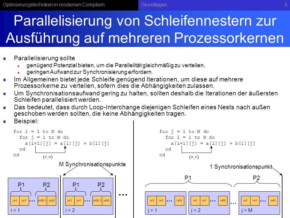 Optimierungstechniken in modernen CompilernGrundlagen5 Parallelisierung von Schleifennestern zur Ausführung auf mehreren Prozessorkernen Parallelisierung sollte genügend Potenzial bieten, um die Parallelität gleichmäßig zu verteilen, geringen Aufwand zur Synchronisierung erfordern.