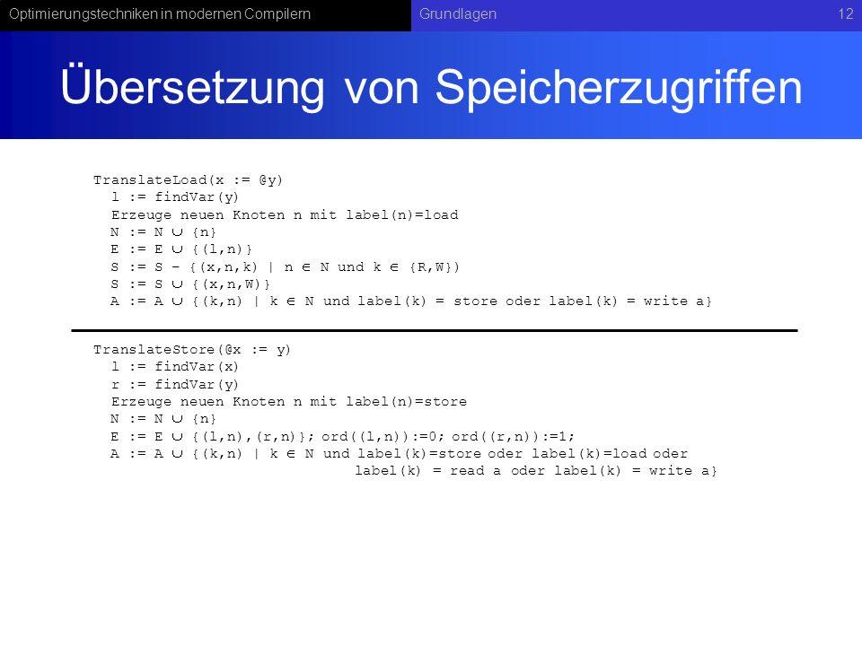 Optimierungstechniken in modernen CompilernGrundlagen12 Übersetzung von Speicherzugriffen TranslateStore(@x := y) l := findVar(x) r := findVar(y) Erze