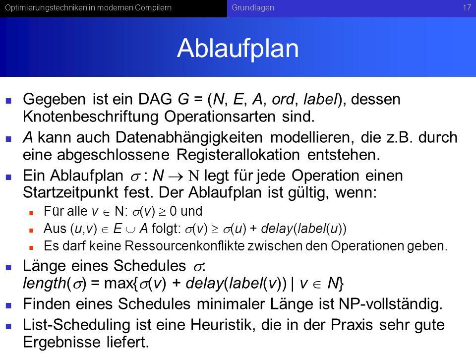 Optimierungstechniken in modernen CompilernGrundlagen17 Ablaufplan Gegeben ist ein DAG G = (N, E, A, ord, label), dessen Knotenbeschriftung Operations