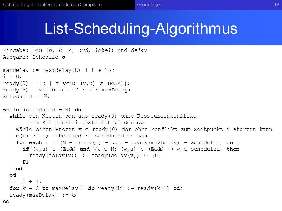 Optimierungstechniken in modernen CompilernGrundlagen18 List-Scheduling-Algorithmus Eingabe: DAG (N, E, A, ord, label) und delay Ausgabe: Schedule max