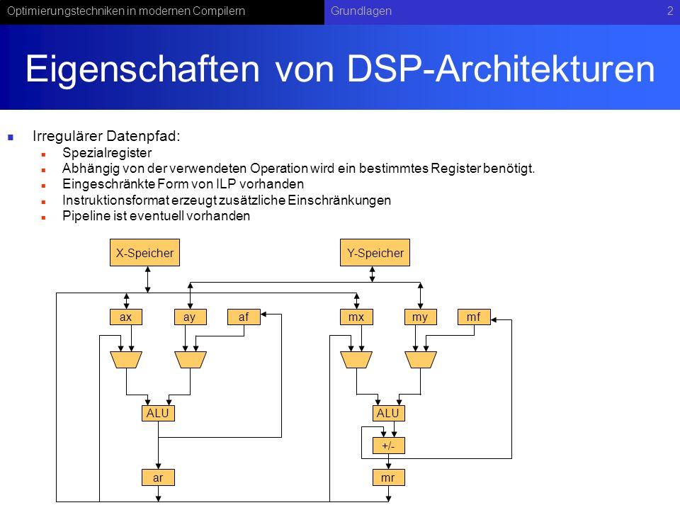 Optimierungstechniken in modernen CompilernGrundlagen2 Eigenschaften von DSP-Architekturen Irregulärer Datenpfad: Spezialregister Abhängig von der ver
