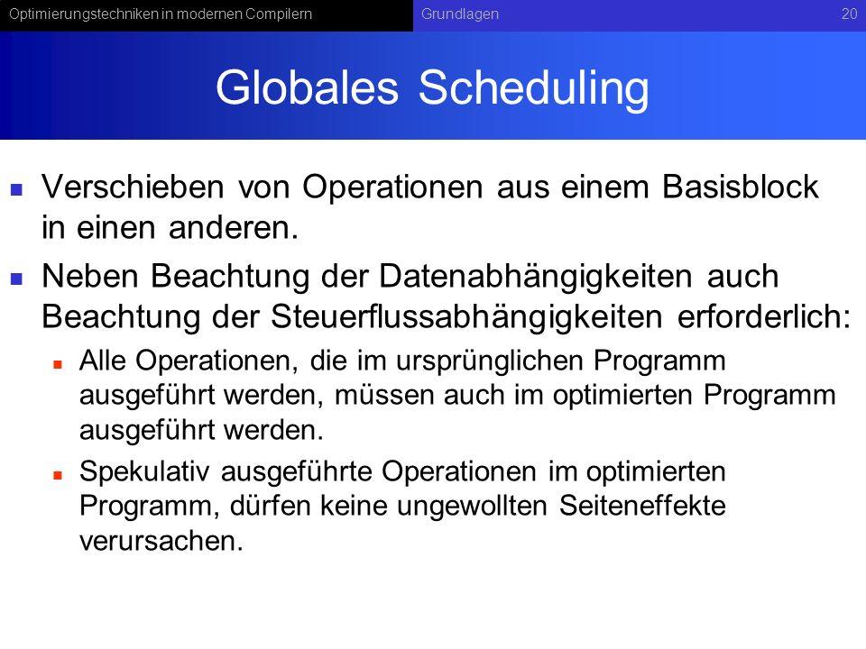 Optimierungstechniken in modernen CompilernGrundlagen20 Globales Scheduling Verschieben von Operationen aus einem Basisblock in einen anderen. Neben B