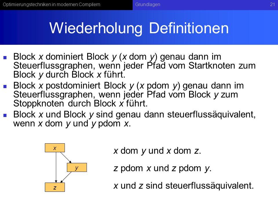 Optimierungstechniken in modernen CompilernGrundlagen21 Wiederholung Definitionen Block x dominiert Block y (x dom y) genau dann im Steuerflussgraphen