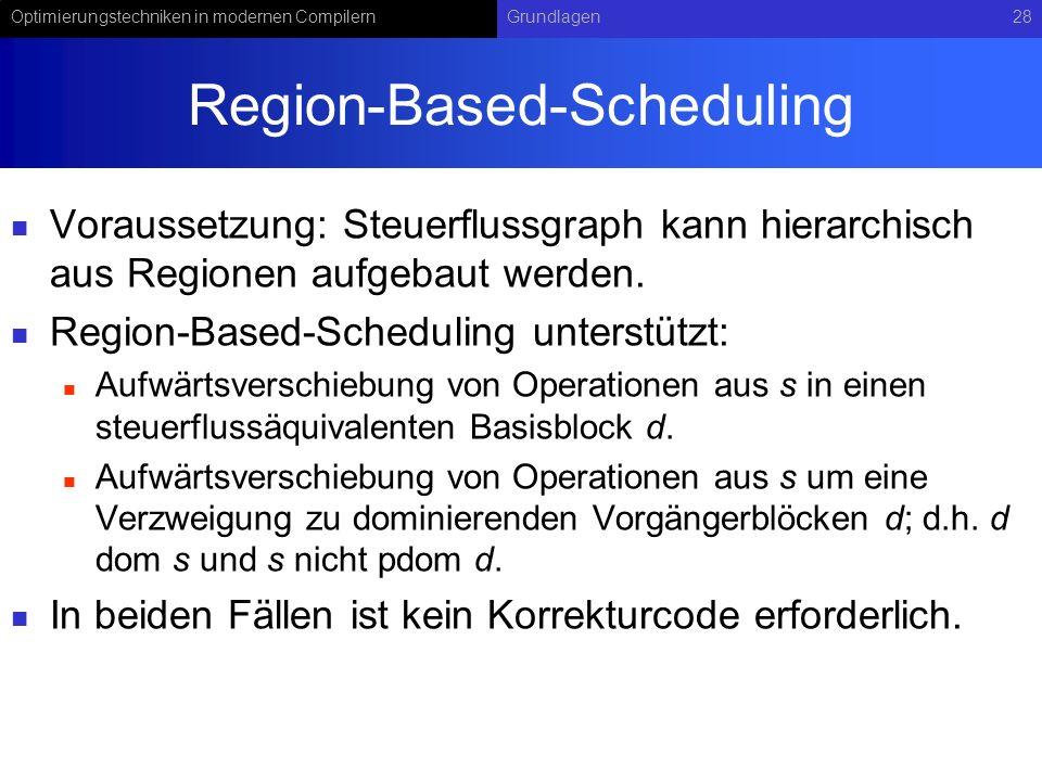 Optimierungstechniken in modernen CompilernGrundlagen28 Region-Based-Scheduling Voraussetzung: Steuerflussgraph kann hierarchisch aus Regionen aufgeba