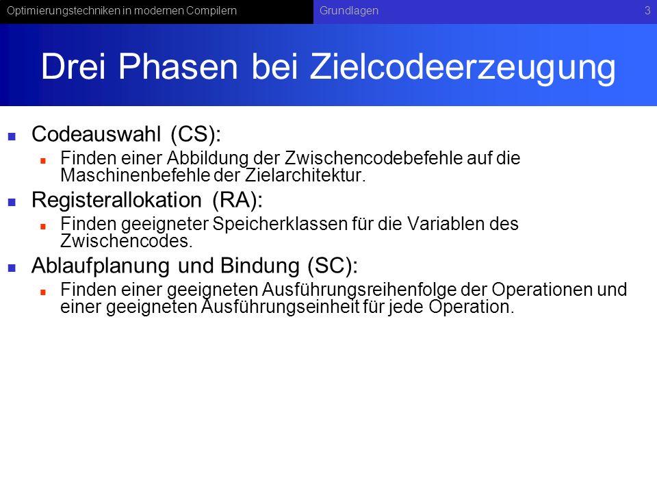 Optimierungstechniken in modernen CompilernGrundlagen3 Drei Phasen bei Zielcodeerzeugung Codeauswahl (CS): Finden einer Abbildung der Zwischencodebefe