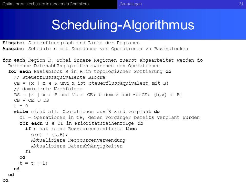 Optimierungstechniken in modernen CompilernGrundlagen31 Scheduling-Algorithmus Eingabe: Steuerflussgraph und Liste der Regionen Ausgabe: Schedule mit