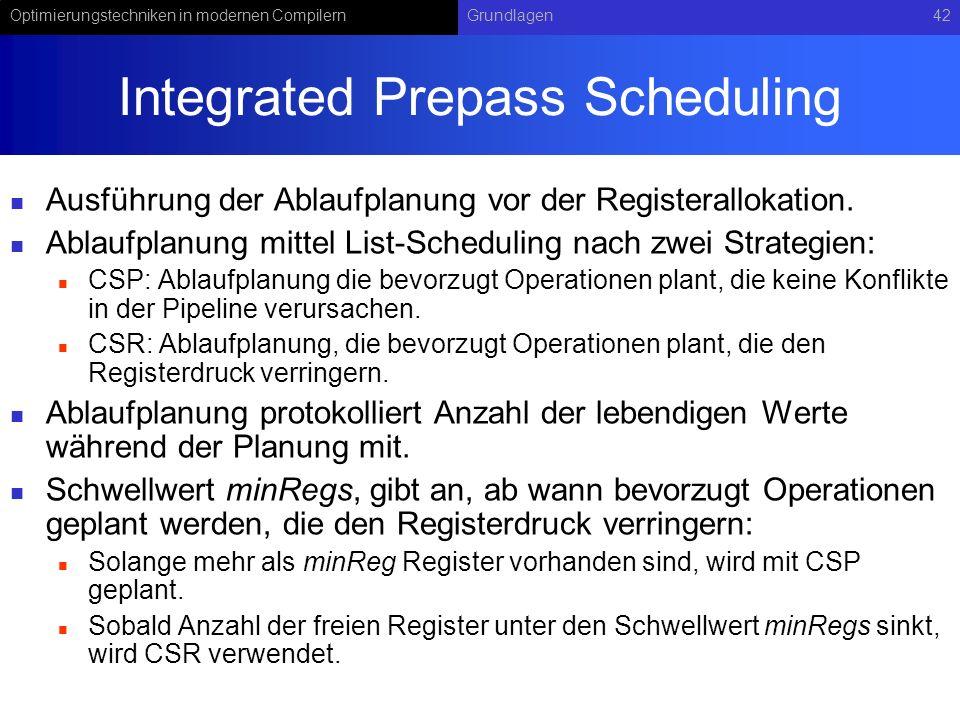 Optimierungstechniken in modernen CompilernGrundlagen42 Integrated Prepass Scheduling Ausführung der Ablaufplanung vor der Registerallokation. Ablaufp