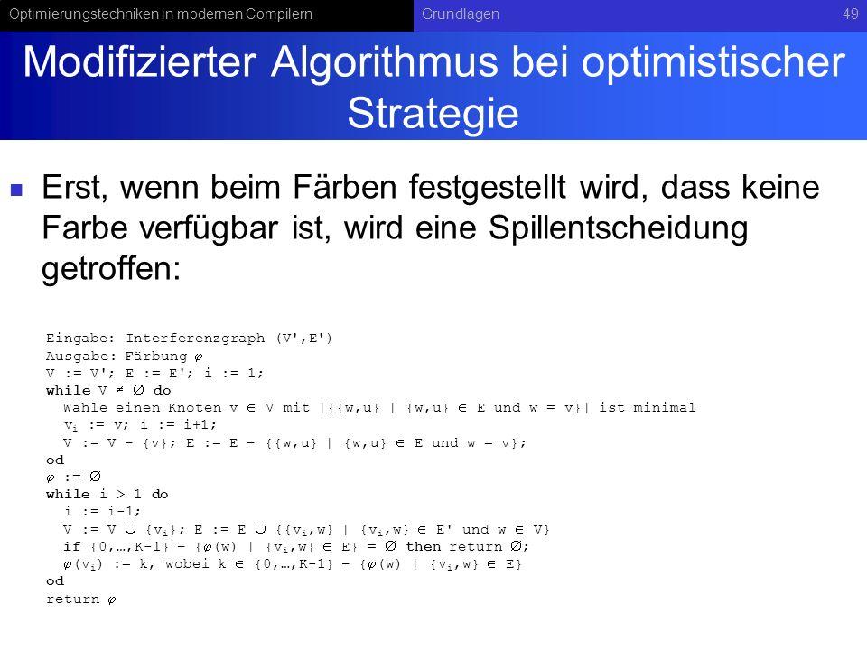 Optimierungstechniken in modernen CompilernGrundlagen49 Modifizierter Algorithmus bei optimistischer Strategie Erst, wenn beim Färben festgestellt wir
