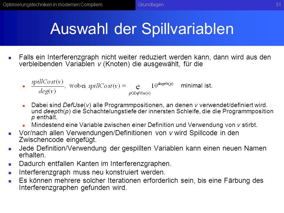 Optimierungstechniken in modernen CompilernGrundlagen51 Auswahl der Spillvariablen Falls ein Interferenzgraph nicht weiter reduziert werden kann, dann