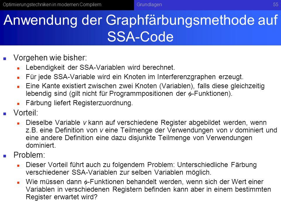 Optimierungstechniken in modernen CompilernGrundlagen55 Anwendung der Graphfärbungsmethode auf SSA-Code Vorgehen wie bisher: Lebendigkeit der SSA-Vari