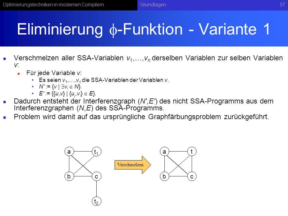 Optimierungstechniken in modernen CompilernGrundlagen57 Eliminierung -Funktion - Variante 1 Verschmelzen aller SSA-Variablen v 1,…,v n derselben Varia