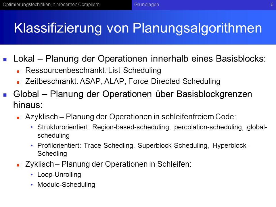 Optimierungstechniken in modernen CompilernGrundlagen6 Klassifizierung von Planungsalgorithmen Lokal – Planung der Operationen innerhalb eines Basisbl