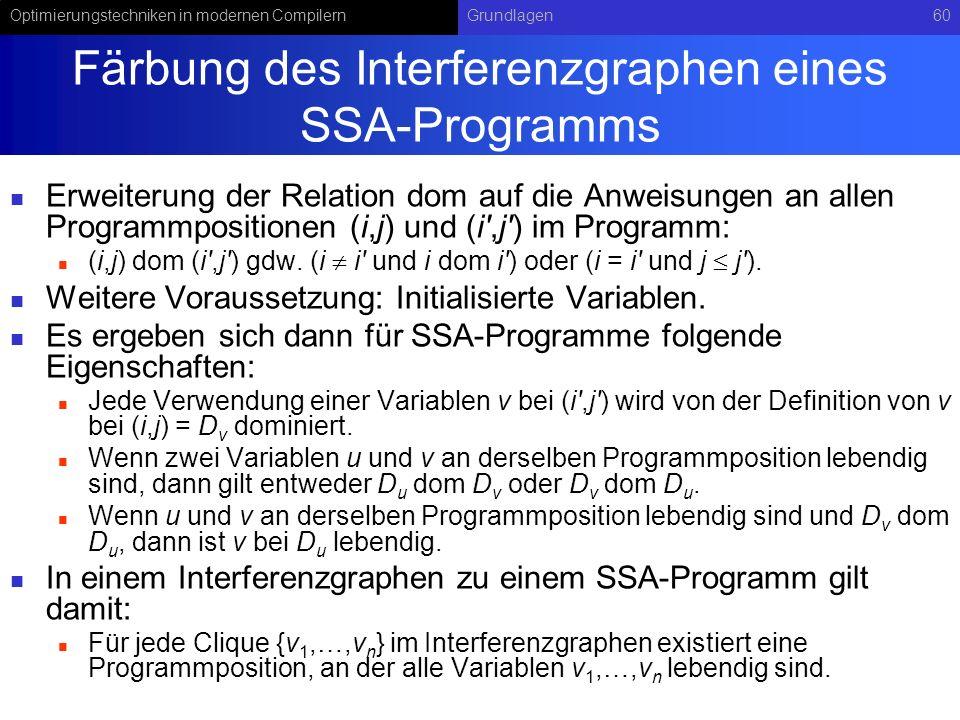 Optimierungstechniken in modernen CompilernGrundlagen60 Färbung des Interferenzgraphen eines SSA-Programms Erweiterung der Relation dom auf die Anweis