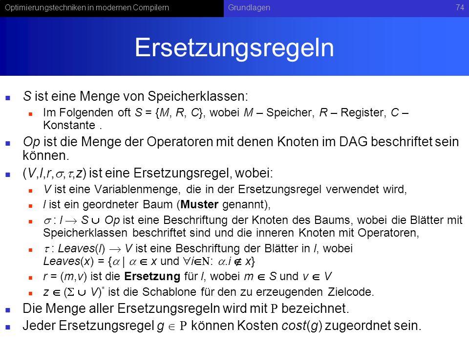 Optimierungstechniken in modernen CompilernGrundlagen74 Ersetzungsregeln S ist eine Menge von Speicherklassen: Im Folgenden oft S = {M, R, C}, wobei M