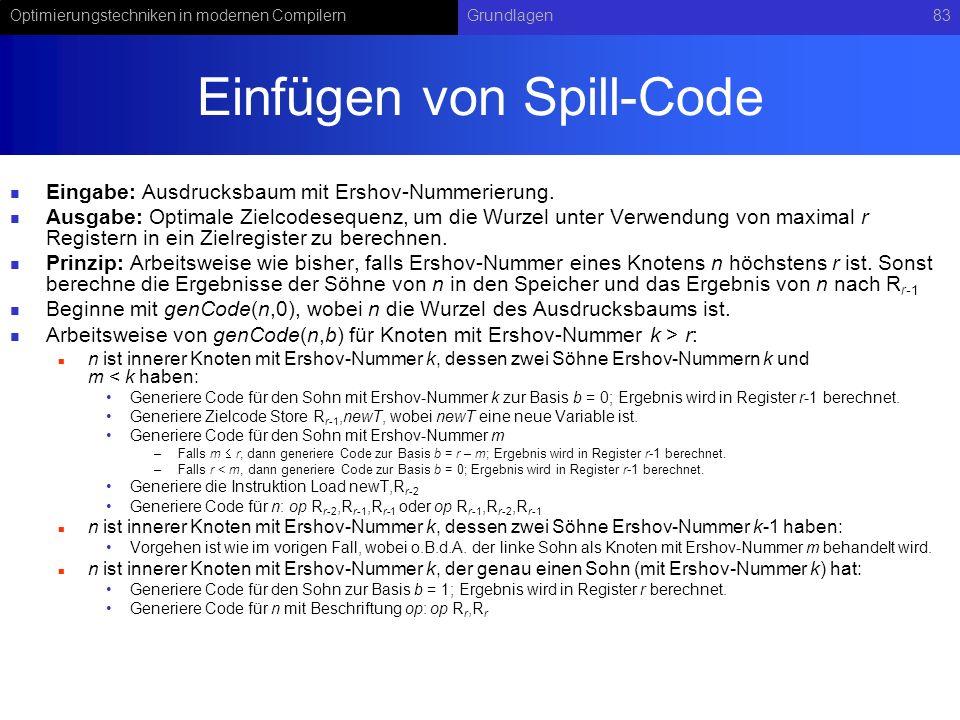 Optimierungstechniken in modernen CompilernGrundlagen83 Einfügen von Spill-Code Eingabe: Ausdrucksbaum mit Ershov-Nummerierung. Ausgabe: Optimale Ziel