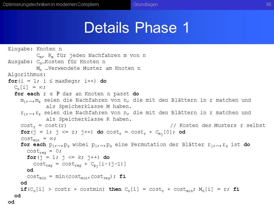 Optimierungstechniken in modernen CompilernGrundlagen86 Details Phase 1 Eingabe: Knoten n C m, R m für jeden Nachfahren m von n Ausgabe: C n …Kosten f