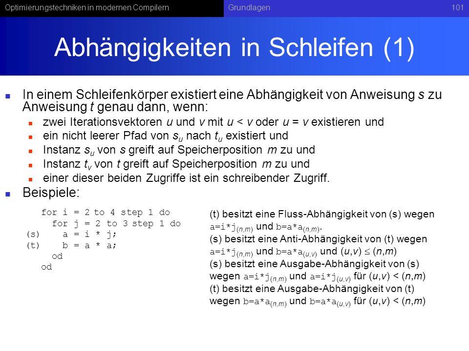 Optimierungstechniken in modernen CompilernGrundlagen101 Abhängigkeiten in Schleifen (1) In einem Schleifenkörper existiert eine Abhängigkeit von Anweisung s zu Anweisung t genau dann, wenn: zwei Iterationsvektoren u und v mit u < v oder u = v existieren und ein nicht leerer Pfad von s u nach t u existiert und Instanz s u von s greift auf Speicherposition m zu und Instanz t v von t greift auf Speicherposition m zu und einer dieser beiden Zugriffe ist ein schreibender Zugriff.