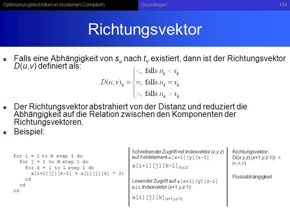 Optimierungstechniken in modernen CompilernGrundlagen104 Richtungsvektor Falls eine Abhängigkeit von s u nach t v existiert, dann ist der Richtungsvek
