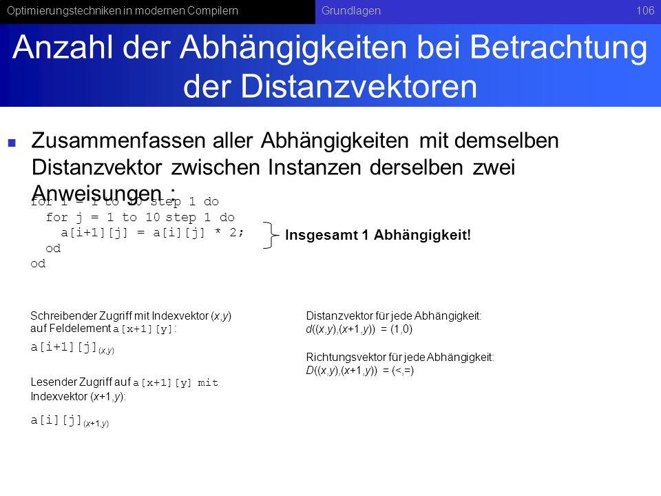 Optimierungstechniken in modernen CompilernGrundlagen106 Anzahl der Abhängigkeiten bei Betrachtung der Distanzvektoren Zusammenfassen aller Abhängigkeiten mit demselben Distanzvektor zwischen Instanzen derselben zwei Anweisungen : for i = 1 to 10 step 1 do for j = 1 to 10 step 1 do a[i+1][j] = a[i][j] * 2; od a[i+1][j] (x,y) a[i][j] (x+1,y) Schreibender Zugriff mit Indexvektor (x,y) auf Feldelement a[x+1][y] : Lesender Zugriff auf a[x+1][y] mit Indexvektor (x+1,y): Richtungsvektor für jede Abhängigkeit: D((x,y),(x+1,y)) = (<,=) Distanzvektor für jede Abhängigkeit: d((x,y),(x+1,y)) = (1,0) Insgesamt 1 Abhängigkeit!