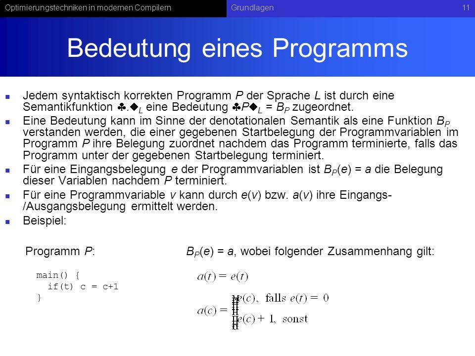Optimierungstechniken in modernen CompilernGrundlagen11 Bedeutung eines Programms Jedem syntaktisch korrekten Programm P der Sprache L ist durch eine Semantikfunktion.