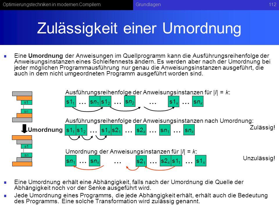 Optimierungstechniken in modernen CompilernGrundlagen112 Zulässigkeit einer Umordnung Eine Umordnung der Anweisungen im Quellprogramm kann die Ausführungsreihenfolge der Anweisungsinstanzen eines Schleifennests ändern.