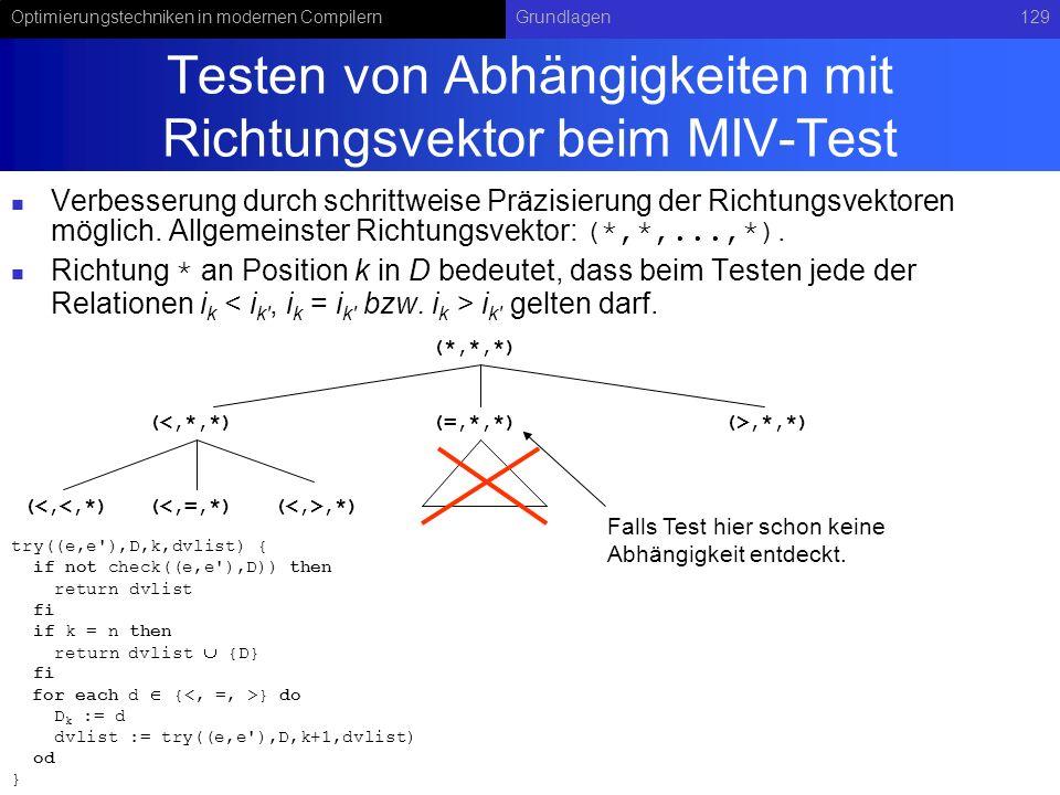 Optimierungstechniken in modernen CompilernGrundlagen129 Testen von Abhängigkeiten mit Richtungsvektor beim MIV-Test Verbesserung durch schrittweise Präzisierung der Richtungsvektoren möglich.