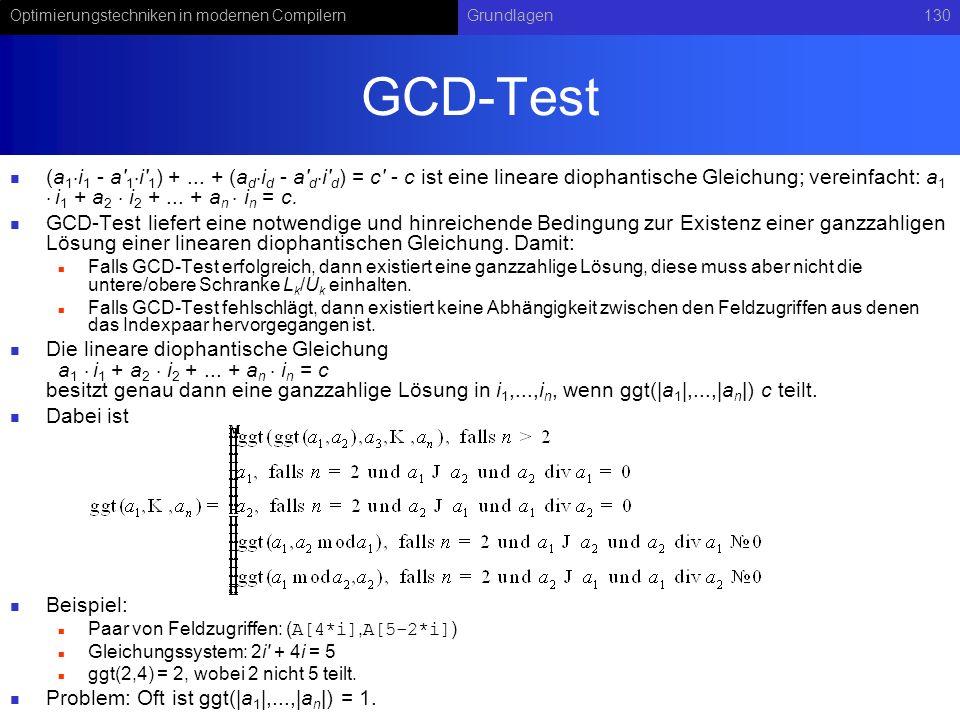 Optimierungstechniken in modernen CompilernGrundlagen130 GCD-Test (a 1 i 1 - a' 1 i' 1 ) +... + (a d i d - a' d i' d ) = c' - c ist eine lineare dioph