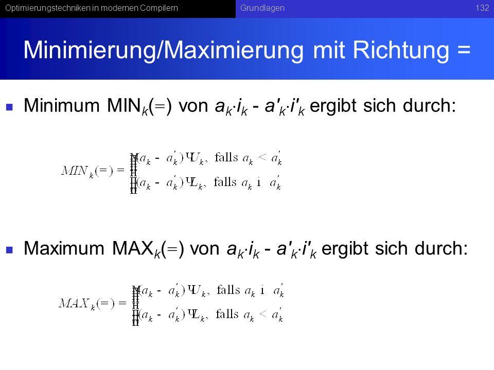 Optimierungstechniken in modernen CompilernGrundlagen132 Minimierung/Maximierung mit Richtung = Minimum MIN k ( = ) von a k i k - a k i k ergibt sich durch: Maximum MAX k ( = ) von a k i k - a k i k ergibt sich durch: