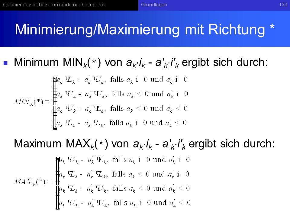 Optimierungstechniken in modernen CompilernGrundlagen133 Minimierung/Maximierung mit Richtung * Minimum MIN k ( * ) von a k i k - a k i k ergibt sich durch: Maximum MAX k ( * ) von a k i k - a k i k ergibt sich durch: