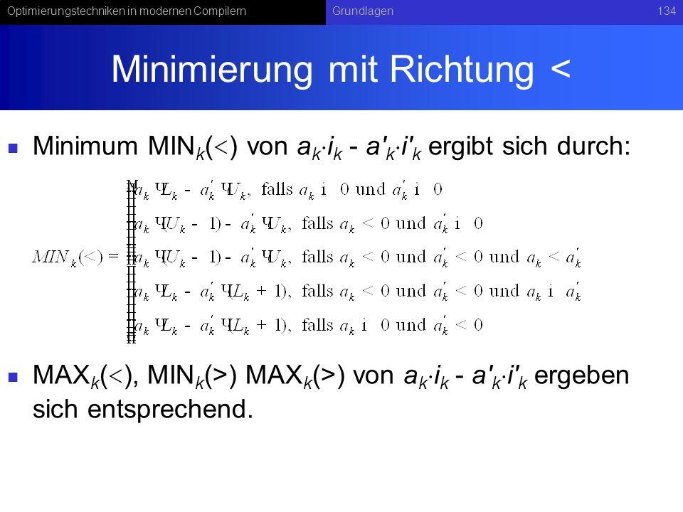 Optimierungstechniken in modernen CompilernGrundlagen134 Minimierung mit Richtung < Minimum MIN k ( < ) von a k i k - a k i k ergibt sich durch: MAX k ( ) MAX k (>) von a k i k - a k i k ergeben sich entsprechend.