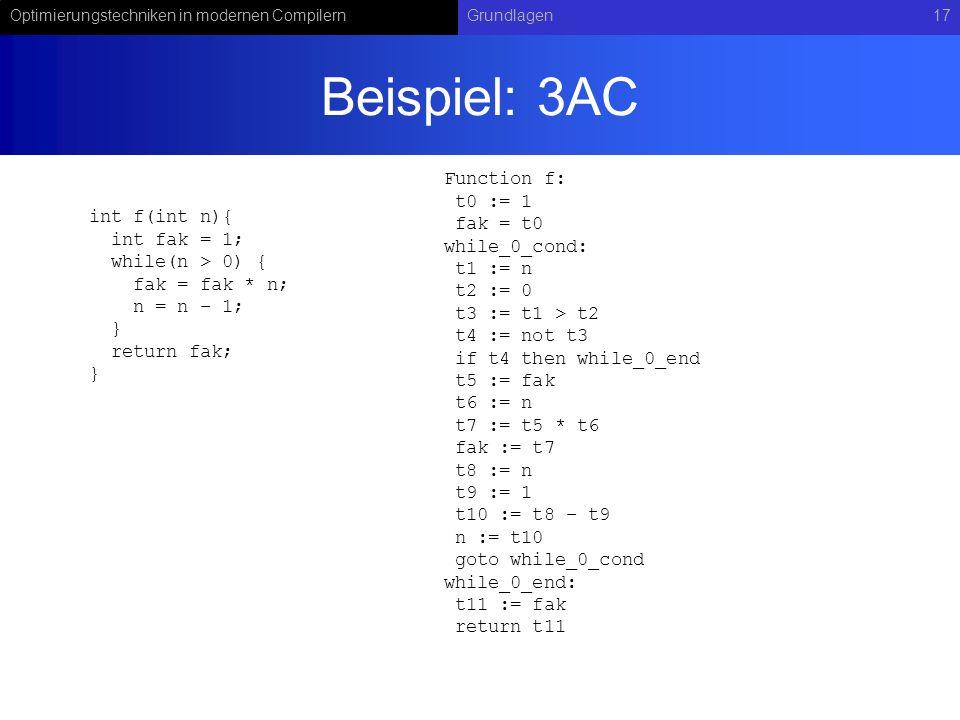 Optimierungstechniken in modernen CompilernGrundlagen17 Beispiel: 3AC int f(int n){ int fak = 1; while(n > 0) { fak = fak * n; n = n – 1; } return fak