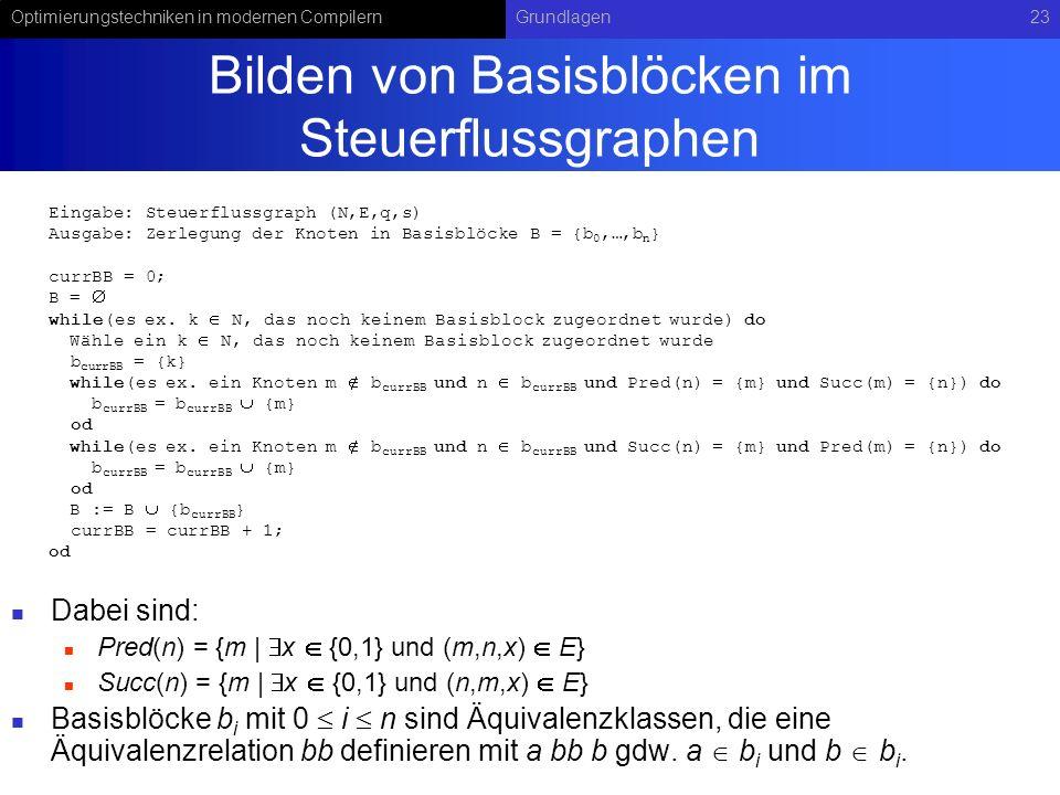 Optimierungstechniken in modernen CompilernGrundlagen23 Bilden von Basisblöcken im Steuerflussgraphen Dabei sind: Pred(n) = {m   x {0,1} und (m,n,x) E} Succ(n) = {m   x {0,1} und (n,m,x) E} Basisblöcke b i mit 0 i n sind Äquivalenzklassen, die eine Äquivalenzrelation bb definieren mit a bb b gdw.