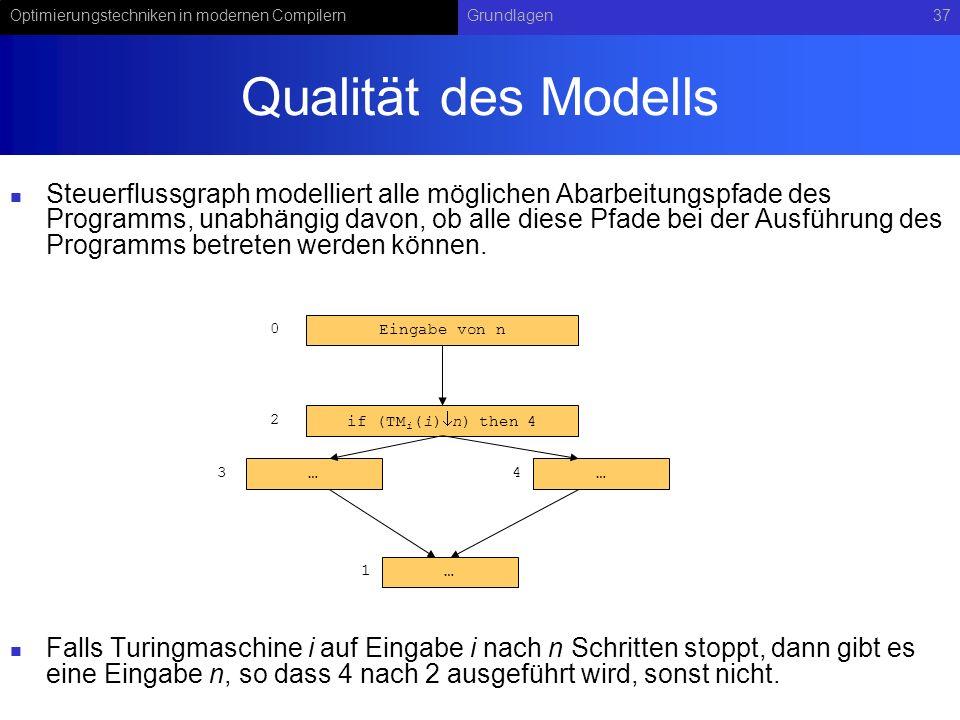 Optimierungstechniken in modernen CompilernGrundlagen37 …… Qualität des Modells Steuerflussgraph modelliert alle möglichen Abarbeitungspfade des Programms, unabhängig davon, ob alle diese Pfade bei der Ausführung des Programms betreten werden können.
