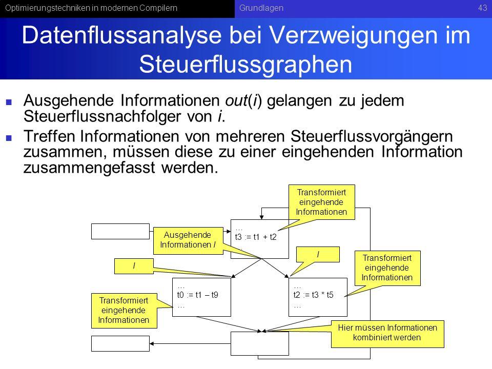 Optimierungstechniken in modernen CompilernGrundlagen43 Datenflussanalyse bei Verzweigungen im Steuerflussgraphen Ausgehende Informationen out(i) gelangen zu jedem Steuerflussnachfolger von i.
