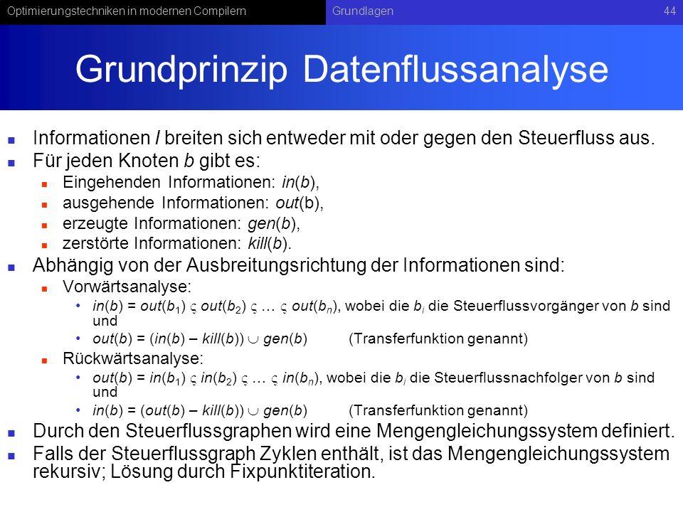 Optimierungstechniken in modernen CompilernGrundlagen44 Grundprinzip Datenflussanalyse Informationen I breiten sich entweder mit oder gegen den Steuerfluss aus.