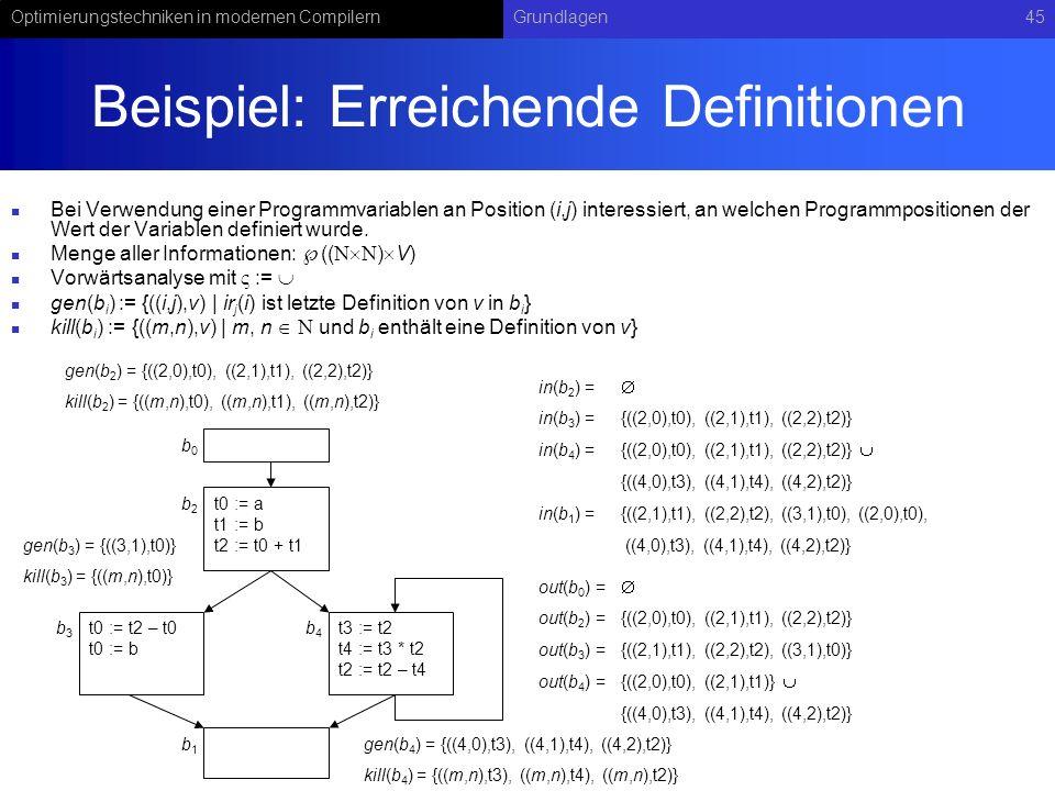 Optimierungstechniken in modernen CompilernGrundlagen45 Beispiel: Erreichende Definitionen Bei Verwendung einer Programmvariablen an Position (i,j) interessiert, an welchen Programmpositionen der Wert der Variablen definiert wurde.