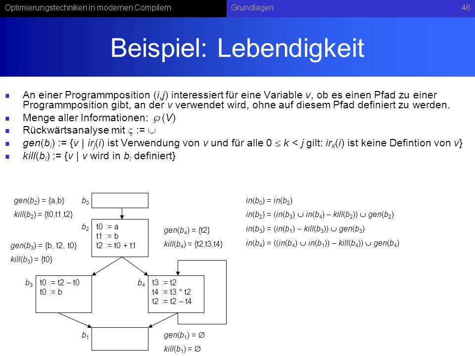 Optimierungstechniken in modernen CompilernGrundlagen46 Beispiel: Lebendigkeit An einer Programmposition (i,j) interessiert für eine Variable v, ob es einen Pfad zu einer Programmposition gibt, an der v verwendet wird, ohne auf diesem Pfad definiert zu werden.
