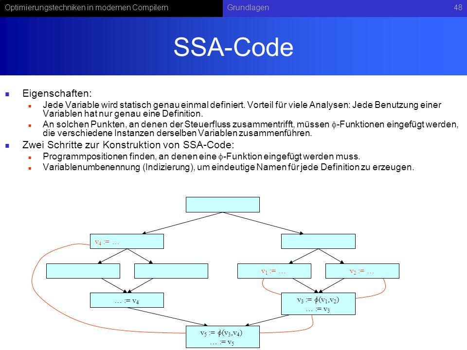 Optimierungstechniken in modernen CompilernGrundlagen48 SSA-Code Eigenschaften: Jede Variable wird statisch genau einmal definiert.