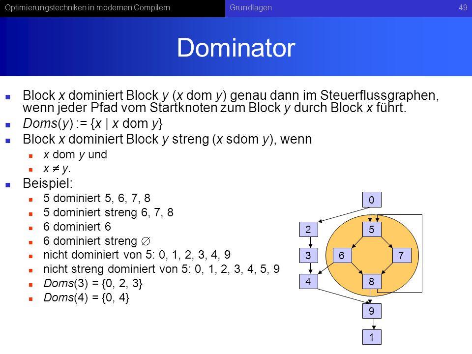 Optimierungstechniken in modernen CompilernGrundlagen49 Dominator Block x dominiert Block y (x dom y) genau dann im Steuerflussgraphen, wenn jeder Pfad vom Startknoten zum Block y durch Block x führt.
