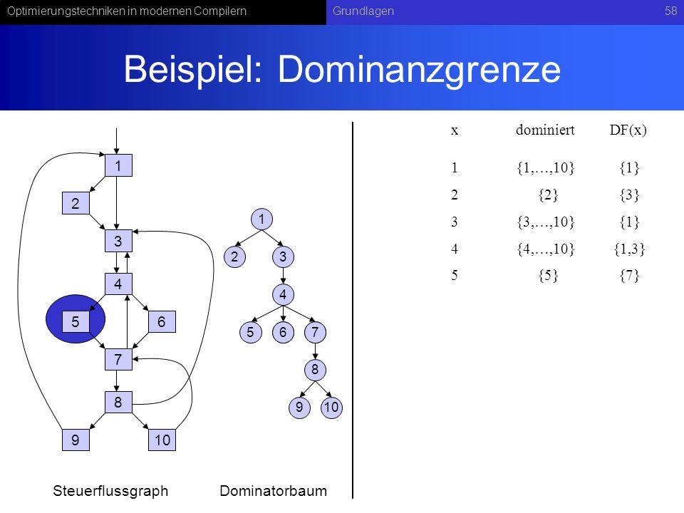 Optimierungstechniken in modernen CompilernGrundlagen58 Beispiel: Dominanzgrenze 1 2 3 4 56 7 8 910 1 23 4 567 8 67 9 SteuerflussgraphDominatorbaum xdominiert 1{1,…,10} DF(x) 2{2}{3} 3{3,…,10}{1} 4{4,…,10}{1,3} 5{5}{7} {1}