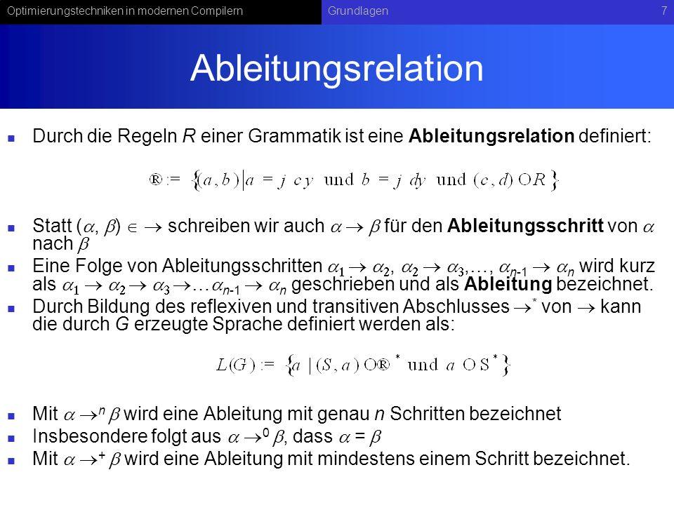 Optimierungstechniken in modernen CompilernGrundlagen7 Ableitungsrelation Durch die Regeln R einer Grammatik ist eine Ableitungsrelation definiert: Statt (a, b) schreiben wir auch a b für den Ableitungsschritt von a nach b Eine Folge von Ableitungsschritten a 1 a 2, a 2 a 3,…, a n-1 a n wird kurz als a 1 a 2 a 3 …a n-1 a n geschrieben und als Ableitung bezeichnet.