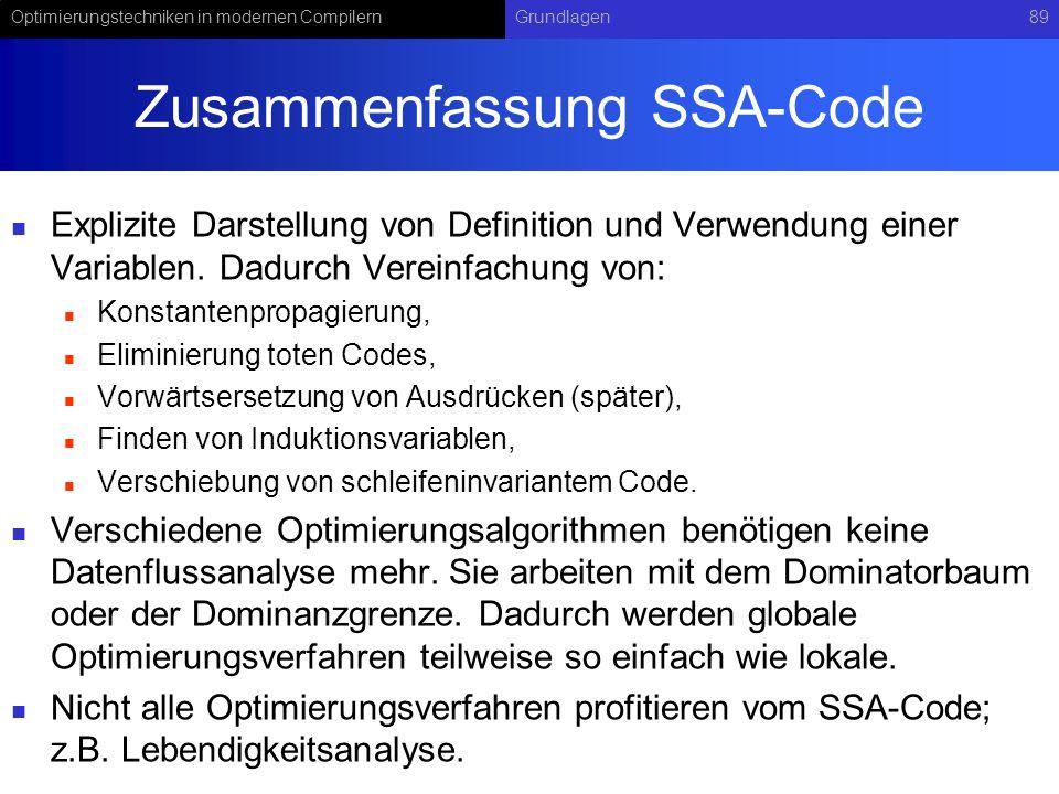 Optimierungstechniken in modernen CompilernGrundlagen89 Zusammenfassung SSA-Code Explizite Darstellung von Definition und Verwendung einer Variablen.