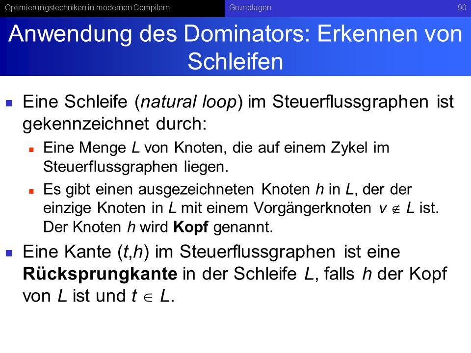 Optimierungstechniken in modernen CompilernGrundlagen90 Anwendung des Dominators: Erkennen von Schleifen Eine Schleife (natural loop) im Steuerflussgraphen ist gekennzeichnet durch: Eine Menge L von Knoten, die auf einem Zykel im Steuerflussgraphen liegen.