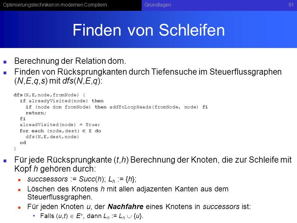 Optimierungstechniken in modernen CompilernGrundlagen91 Finden von Schleifen Berechnung der Relation dom.