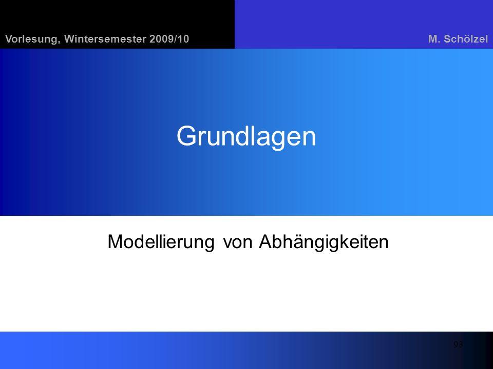 Vorlesung, Wintersemester 2009/10M. Schölzel 93 Grundlagen Modellierung von Abhängigkeiten